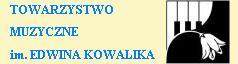 Logo TOWMUZ - w części lewej zawiera napis Towarzystwo Muzyczne imienia Edwina Kowalika. W części prawej zawiera pole, które ma zarys kwadratu przedzielonego falistą (jak klapa fortepianu) linią od lewego dolnego do prawego górnego rogu. Ponad tą linią widoczny  jest fragment fortepianowej klawiatury złożonej z białych i czarnych klawiszy. Poniżej tej linii jest czarne tło, na tle którego widoczny jest biały kwiat w kształcie dzwoneczka symbolizujący przenikanie piękna muzyki do świata ciemności.